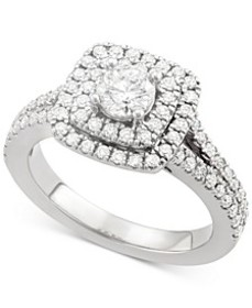 Certified Diamond Square Halo Engagement Ring (1-1