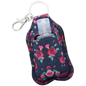 Rose Print Hand Sanitizer Key Ring Pouch