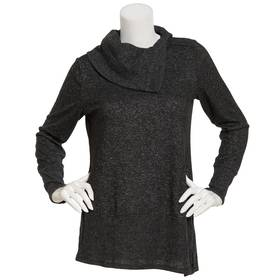 Womens AGB Long Sleeve Split Cowl Neck Fuzzy Tunic