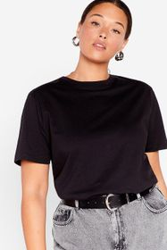 Nasty Gal Black Face the Face Plus Relaxed Tee