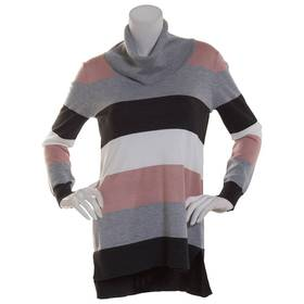 Womens Cable & Gauge Long Sleeve Striped Cowl Neck