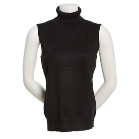 Womens Cable & Gauge Sleeveless Turtleneck Sweater