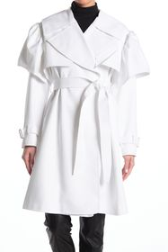 alice + olivia Melodie Ruffle Sleeve Trench Coat