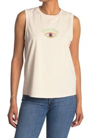 Nicole Miller Evil Eye Embroidery Muscle T-Shirt