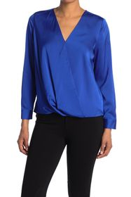 Vince Camuto Surplice Long Sleeve Hammered Blouse