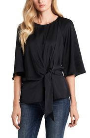 Vince Camuto Elbow Sleeve Keyhole Tie Front Bouse