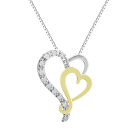 Womens 0.10cttw. Two-Tone Double Heart Pendant