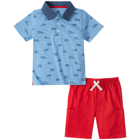 Toddler Boy Kids Headquarters Print Polo with Carg