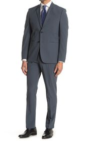 Perry Ellis Solid Charcoal Two Button Notch Lapel