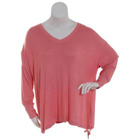 Plus Size Zac & Rachel Long Sleeve V-Neck Side Tie