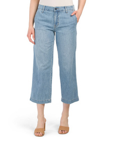 Mid Rise Cropped Wide Leg Jeans