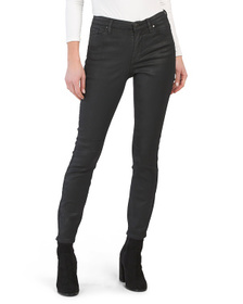 High Rise Coated Skinny Straight Jeans