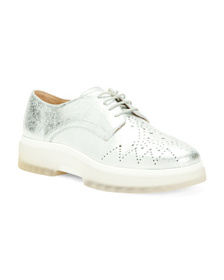 Metallic Leather Comfort Casual Shoes