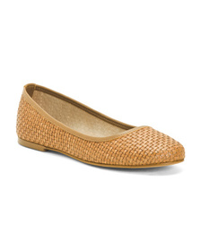 Made In Italy Leather Woven Ballet Flats