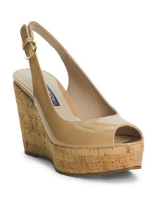 Made In Spain Patent Leather Cork Wedge Sandals