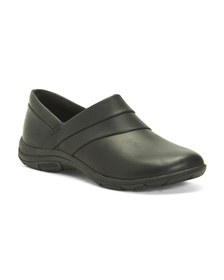 Wide Comfort Slip On Leather Flats