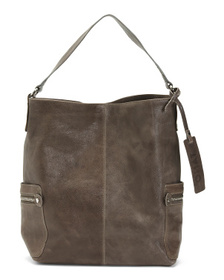 Made In Italy Leather Oversized Hobo With Side Zip