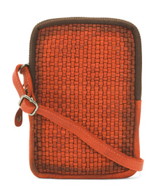 Leather Woven Iphone Crossbody