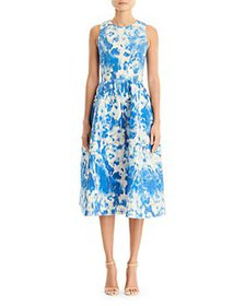 Carolina Herrera - Metallic Print A Line Dress