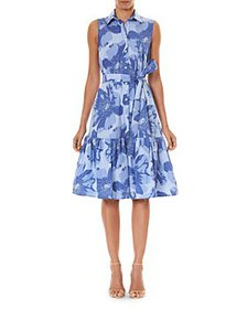 Carolina Herrera - Belted Cotton Floral Print Dres