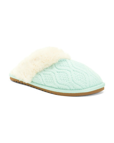 Knit Scuff Slippers With Faux Fur Lining