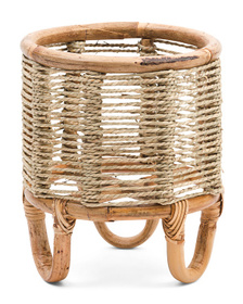Small Seagrass Woven Planter With Stand