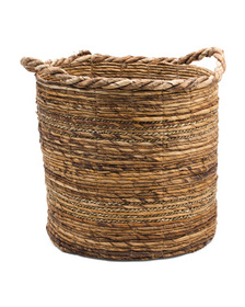 Made In India Medium Banana Seagrass Round Basket