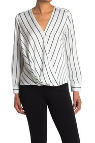 Vince Camuto Striped Surplice Long Sleeve Blouse