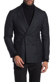 Burberry Serpentine Navy Check Double Breasted Pea