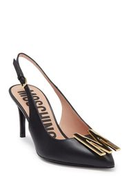 MOSCHINO Leather Pointed Toe M Slingback Pump