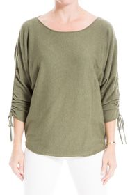 Max Studio Ruched Sleeve Scoop Neck Sweater