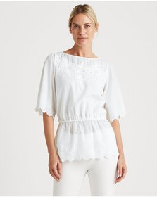 Ralph Lauren Embroidered Cotton Voile Top