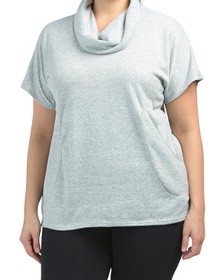 Made In Usa Plus Cowl Neck Short Sleeve Cozy Top