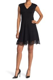 Elie Tahari Heidi V-Neck Scallop Hem Dress