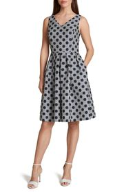 Tahari Polka Dot Stripe Fit & Flare Dress