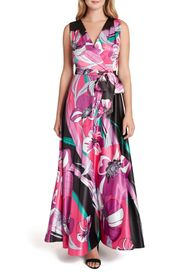 Tahari Floral Sleeveless Satin Maxi Dress