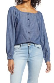 Caslon Chambray Front Button Top