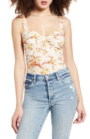 Leith Floral Twist Detail Sweetheart Top