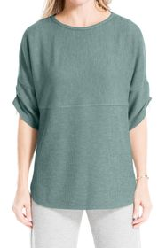 Max Studio Ruched Sleeve Rib Knit Pullover