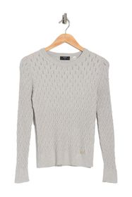 T Tahari Long Sleeve Crewneck Braided Pullover