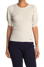 T Tahari Blouson Elbow Sleeve Crewneck Sweater