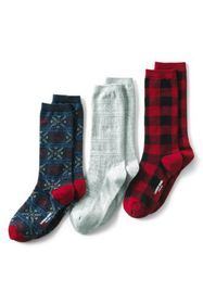 Lands End Women's 3-Pack Seamless Toe Patterned Cr