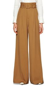 SUISTUDIO Frankie Belted High Waist Wide Leg Wool