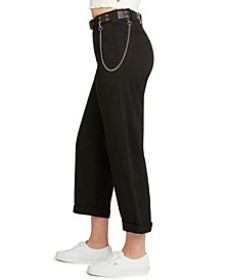 Juniors' Belted Cuffed Pants
