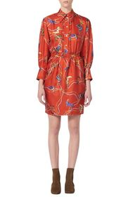 Sandro Bootsy Belted Silk Shirtdress