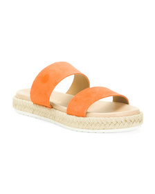 Made In Italy Double Band Leather Slide Sandals