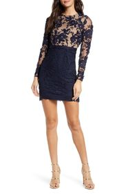 ML Monique Lhuillier Calypso Long Sleeve Lace Cock