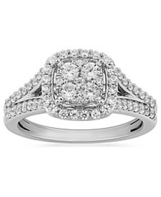 Diamond Halo Cluster Ring (3/4 ct. t.w.) in 10k Wh