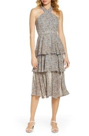 Sam Edelman CRISS CROSS NECK TIERED DRESS