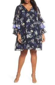 Vince Camuto Tiered Ruffle Sleeve Shift Dress